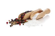 Salt And Pepper On Wooden Shovels