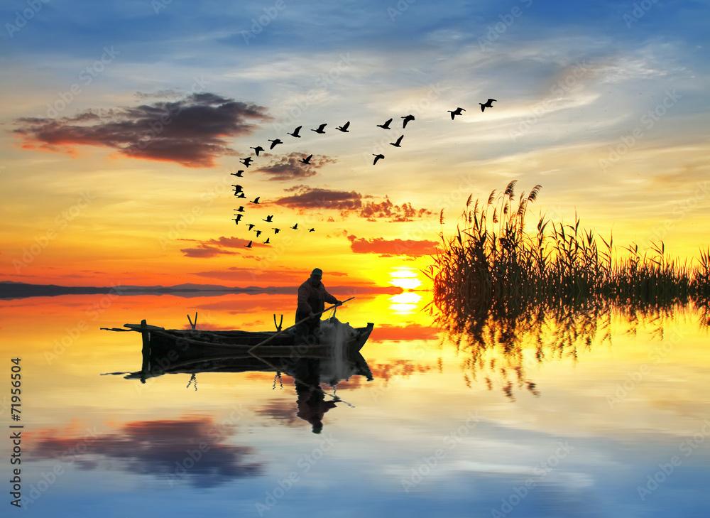 Fototapeta pescando en el lago de los sueños