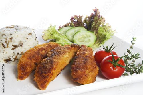 Fotografie, Obraz  Hähnchenbrustfilet mit Salat und Reis