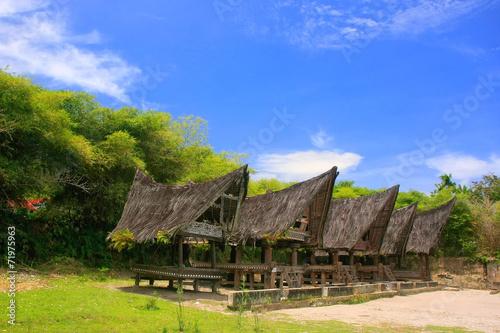 Photo Traditional Batak houses on Samosir island, Sumatra, Indonesia