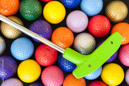 Photo Stands Golf Green Golf Putter with Colorful Balls