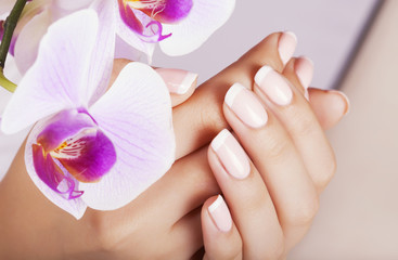 Fototapeta Beautiful woman's nails with french manicure.