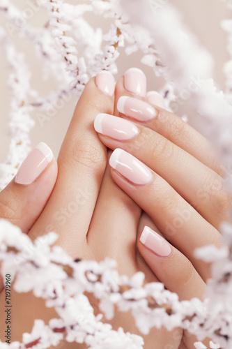Photographie  Les ongles de Belle femme avec manucure française.
