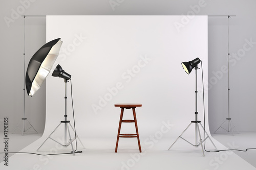 Photo 3d studio setup with lights, a wooden chair and white background