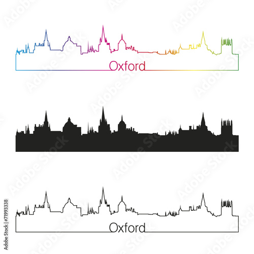 Fotomural Oxford skyline linear style with rainbow