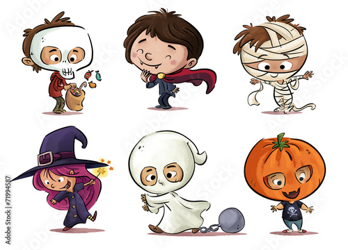 Fotografie, Obraz  niños con disfraz de Halloween
