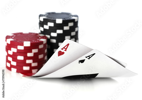double aces with fiches on white background плакат