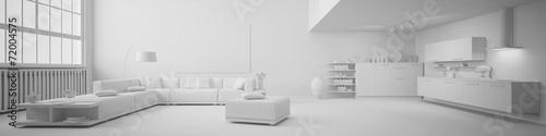 Obraz Panorama von einem Loft in weiß - fototapety do salonu