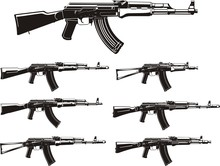 Kalashnikov Assault Rifle Different Generation Silhouettes Set