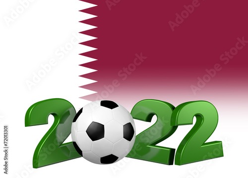 Fotografering  Football 2022 design with Qatar Flag