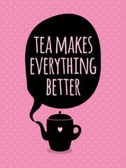 FototapetaGreeting card. Lettering. I love tea.