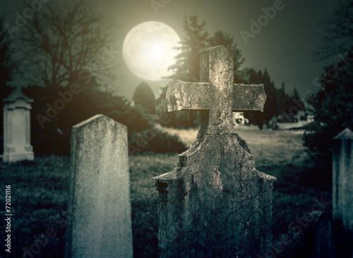 Photo sur Toile Cimetiere Cemetery night