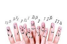 Close Up Finger Of Social Music Symbol