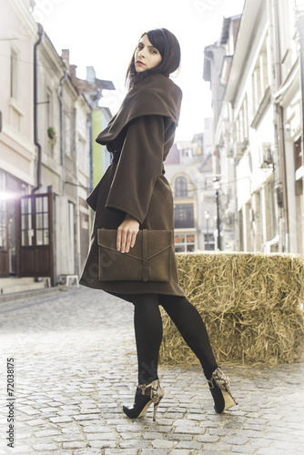 Photo  Girl in brown wool jacket