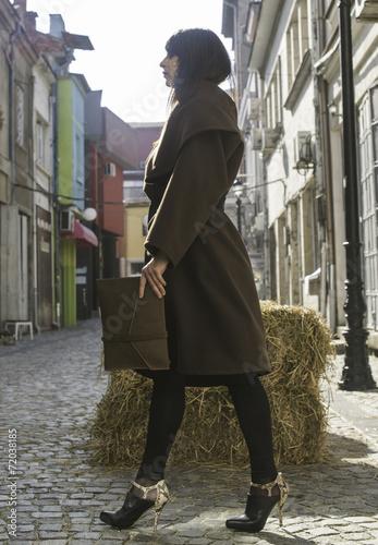 Girl in brown wool jacket Canvas Print