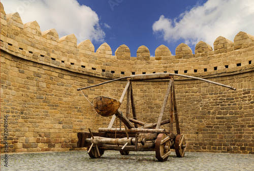 Canvas Print catapult Turkish Mancinik Icheri Sheher Old Town Baku Azerbaijan