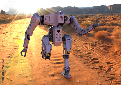 Photo  titan robot running on deser front view