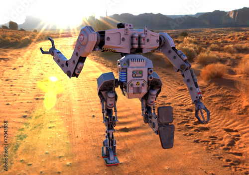 Photo  titan robot running on desert