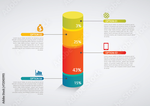 Fotomural info graphics - colorful graph,cylinder