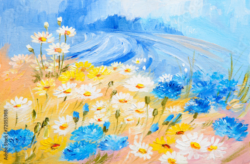 Oil Painting - abstract illustration of flowers