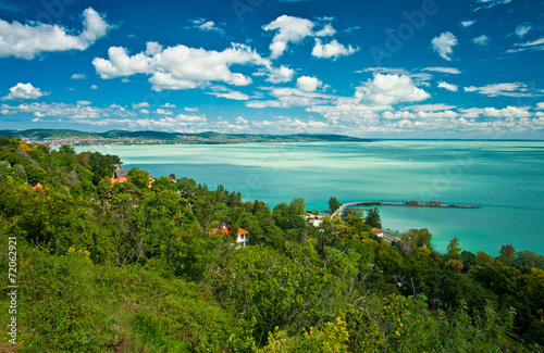 Photo  Lake Balaton in Hungary with nice clouds in summer