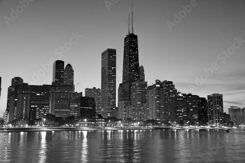 Chicago North side at dusk