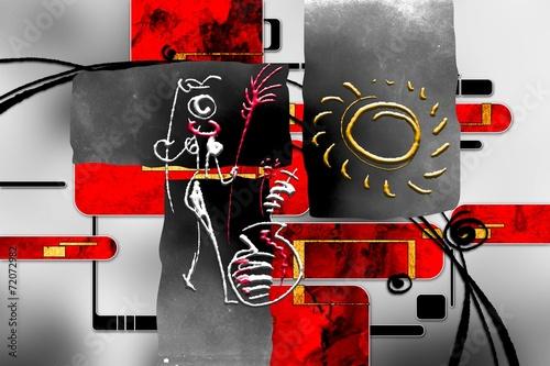 afrykanski-motyw-kolor-czarny-i-czerwony-plemienne-pokolenia