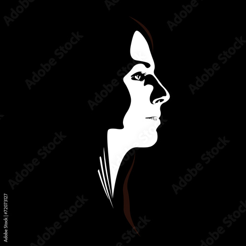 Low key vector profile of young woman Wall mural