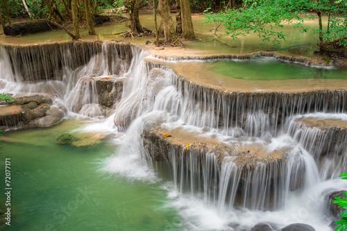 Wall Murals Waterfalls Thailand waterfall in Kanchanaburi (Huay Mae Kamin)