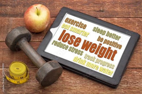 Fotografía  lose weight - tips on a tablet