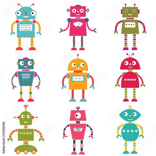 Deurstickers Robots Isolated tobots set