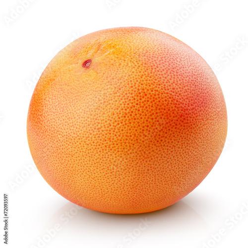 Single grapefruit citrus fruit isolated on white
