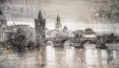 Fototapeta Widok na Most Karola w stylu retro Praga,Czechy.