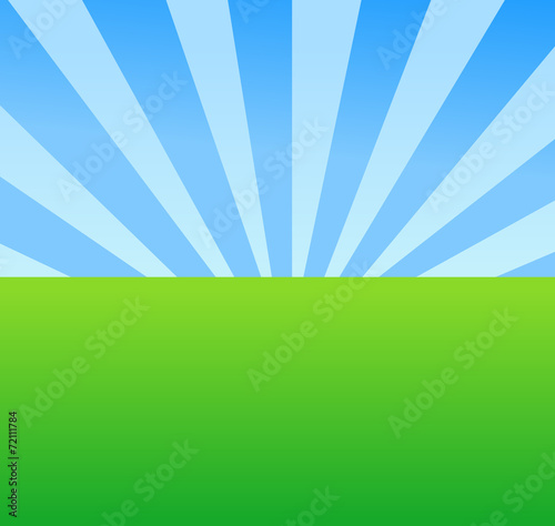 Landscape Background - Meadow with Blue Sky