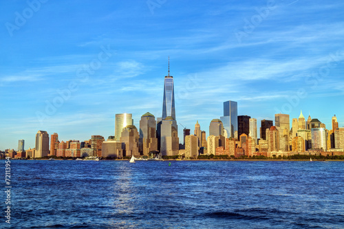 New York City skyline in warm light at sunset