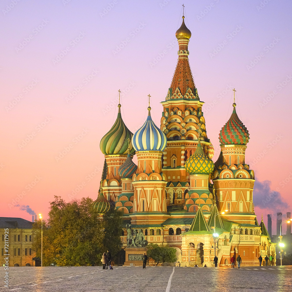 Fototapety, obrazy: Cityscape with the image of night St. Basil Cathedral in Moscow