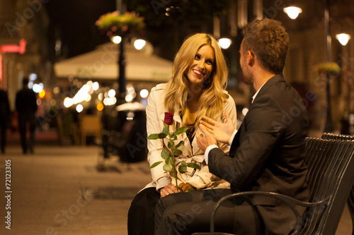 Fotografie, Obraz  Romantic date on a bench