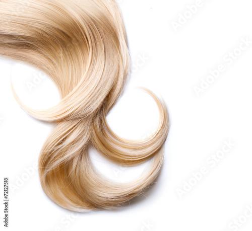 Fényképezés Blond hair isolated on white. Blonde lock closeup