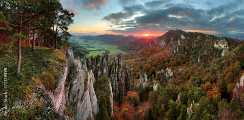 Wall Murals Deep brown Slovakia mountain forest landscape at Autumn, Sulov