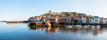 Scenic View Of Whitby City And Abbey In North Yorkshire, UK