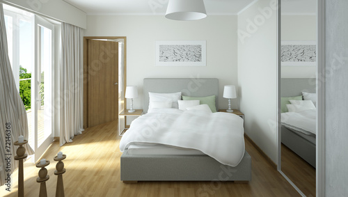 Photo  Rendering of a modern light colored bedroom