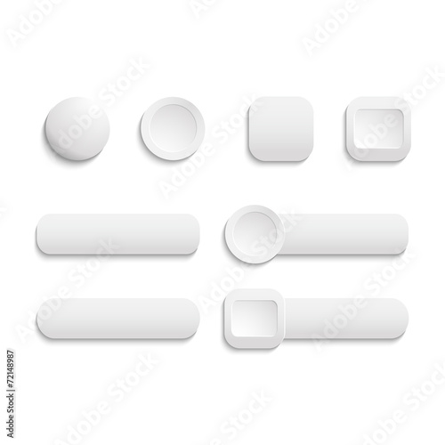 Fotografía  Vector  realistic Matted white color Web  buttons  symbol set is