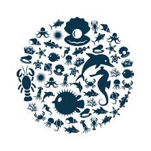 Sealife Icons In Circle