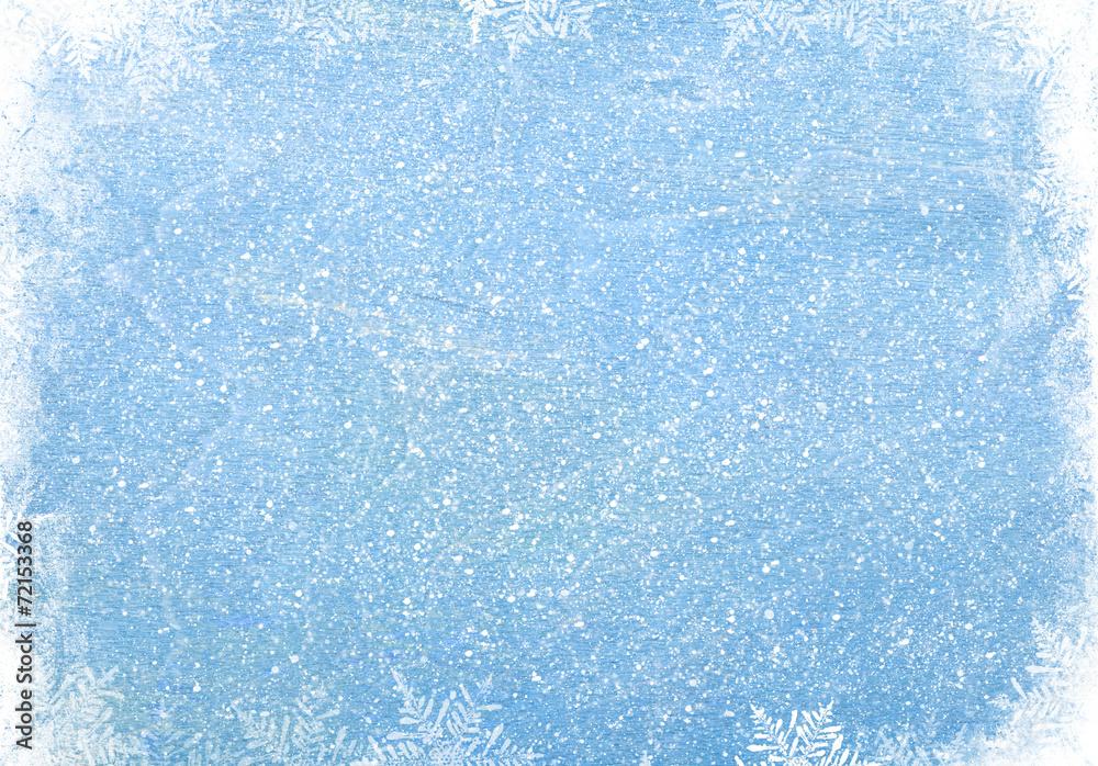 Fototapeta Blue wood texture with snow