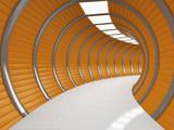 Fototapeta Persperorient 3d - Modern long corridor