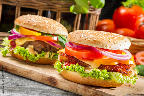 Fototapety, obrazy: Closeup of two homemade burgers made from fresh vegetables
