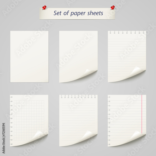 Obraz Vector set of  paper sheet ,texture notebook sheets isolated - fototapety do salonu