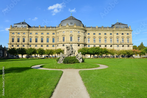 Foto  Würzburger Residenz, Südseite, Hofgarten, Weltkulturerbe
