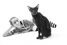 Funny Hostess And Her Cat, Monochrome