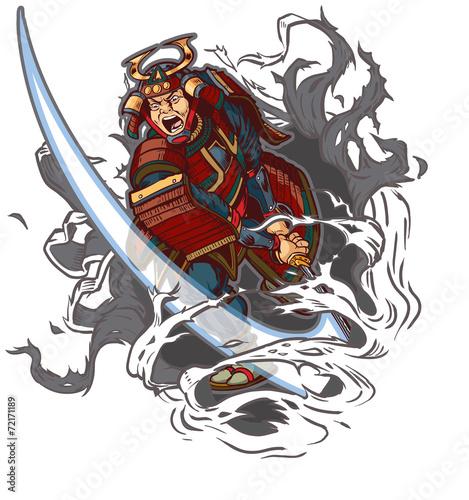 Samurai Slashing Through Background Vector Illustration Poster